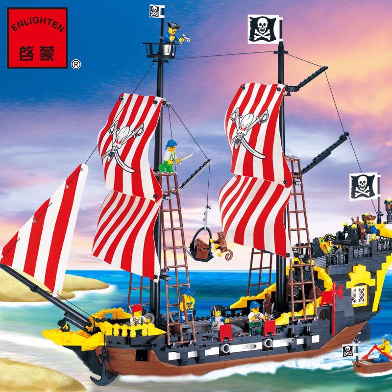 Pogo Lepin 870Pcs Enlighten Pirates Series Black Pearl Construction Building Blocks Bricks Toys Compatible Legoe