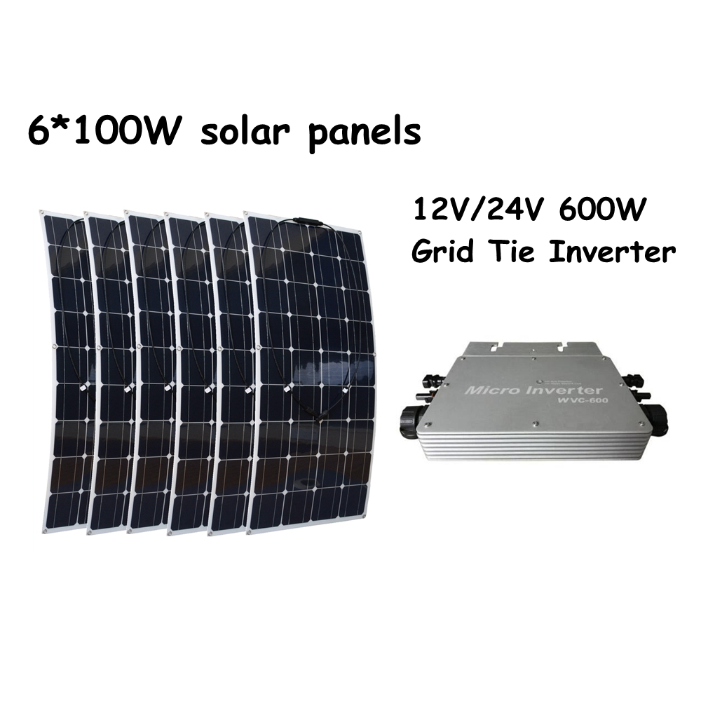 6*100W Flexible Solar Panels +12V/24V 600W Waterproof Grid Tie Inverter for Boat Car House RV Charger Houseuse Solar System 2pcs 4pcs mono 20v 100w flexible solar panel modules for fishing boat car rv 12v battery solar charger 36 solar cells 100w