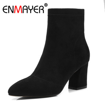 Enmayer Kid Suede Women Ankle Boots Fashion Boots Shoes woman Size 34-43 Causal Med Heels Thick Heels Pointed Toe Zipper CR1403