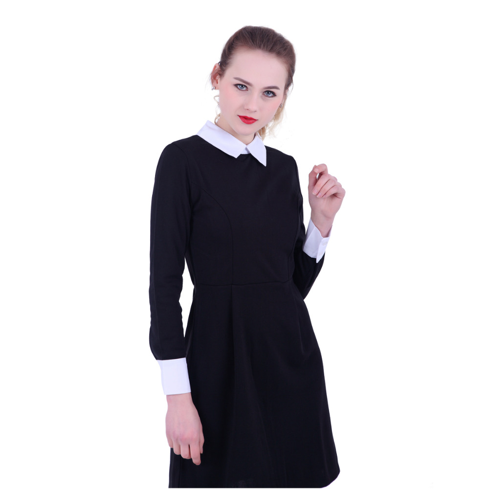 Black dress with white peter pan collar - Gcarol Women Victoria Beckham Dresses Preppy Style Elegant Peter Pan Collar Ladies Vintage Street Wear Dress For Autumn Winter In Dresses From Women S