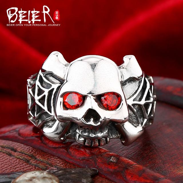 Beier 925 silver sterling jewelry 2015 Punk locomotive men ring  skull Zircon Spider web decoration ring   D0351