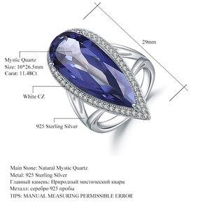 Image 5 - GEMS bale yeni 11.48Ct doğal Iolite mavi mistik kuvars büyük su damlası parmak yüzük 925 ayar gümüş yüzük kadınlar için düğün