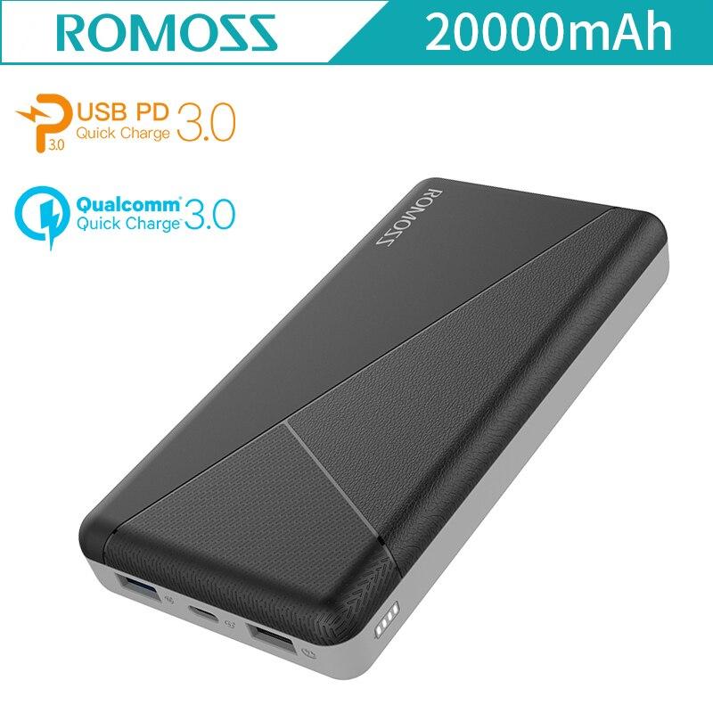 ROMOSS PIE20 PRO 20000 mAh batterie externe QC3.0 PD3.0 batterie externe Pour iPhone8 iPhoneX Type C Deux façon charge rapide PD3 batterie externe