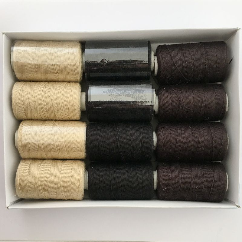 100 rolls BLACK hair weaving thread sewing cotton thread with gift 1 piece C curved needle
