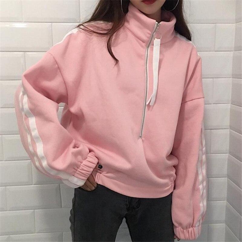 2017 Hiver Corée Femmes de Nouvelle longue pull lâche haute col épaissie velours zipper Harajuku Vadim Sweat Crop Top