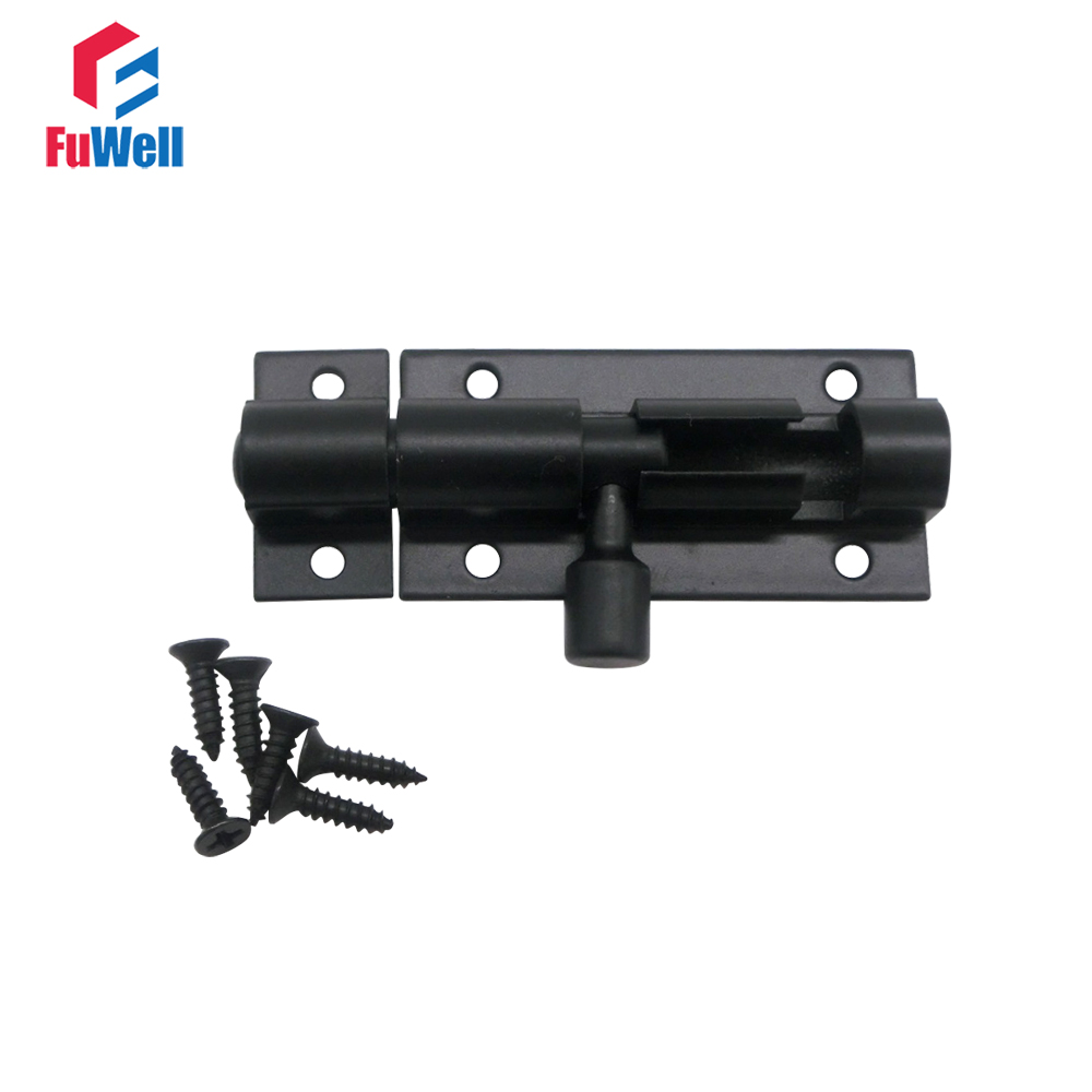 Black Barrel Bolt 2/3/4/5/6/8inch Aluminum Alloy Door Latch Hardware For Home Gate Safety Door Bolt Latch Lock