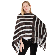 Fashion 2018 Soft Cashmere Knitted Spring Winter Women Scarf Striped Warm Pashmina Scarves Shawls Lady Wrap Tassel Poncho Capes