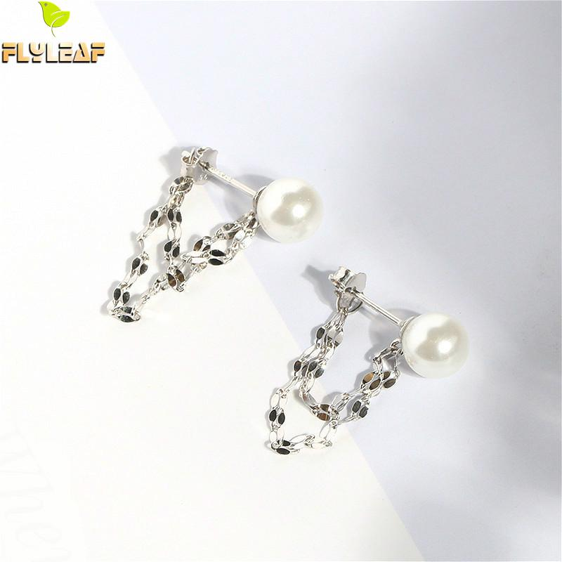 Flyleaf Shell Pearl Beads Sequin Drop Earrings For Women Real 925 Sterling Silver Fine Jewelry Dangling Earings Fashion Jewelry