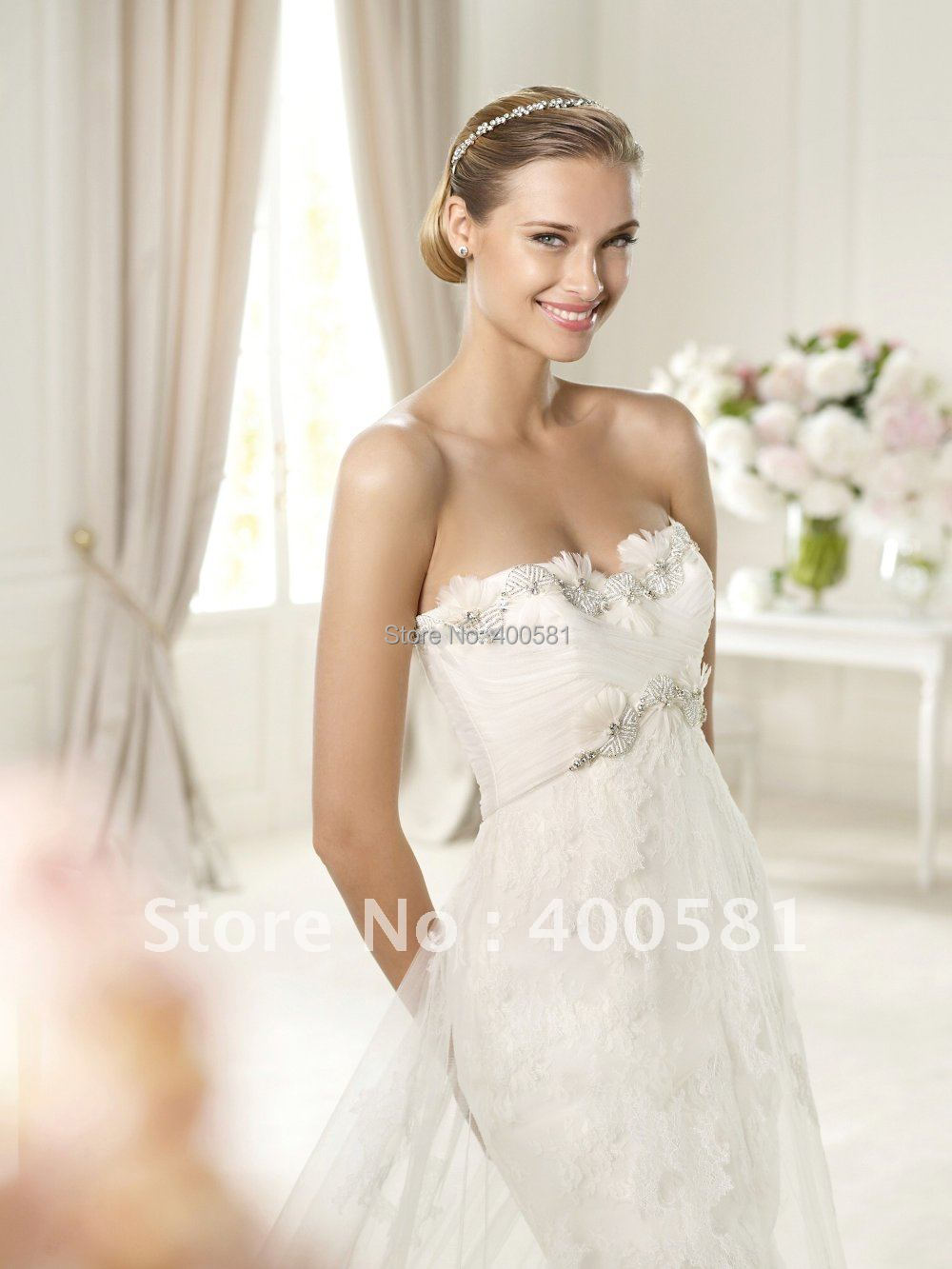 Strapless Feather Wedding Dresses
