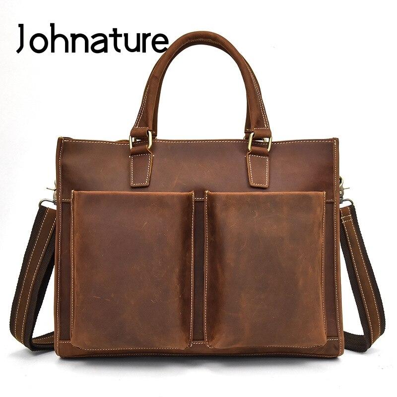 Johnature 2019 New Retro Crazy Horse Leather Briefcase Men Computer Bags Leisure Genuine Leather Business Handbags Shoulder Bags