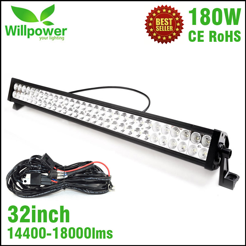FREE shipping 18000lms combo Beam waterproof truck tractor 4x4 off road 180W 32 inch LED driving Light Bar 12v tripcraft new 17 24 inch 216w off road ramp led light bar driving working light combo beam for 4wd suv tractor free shipping