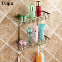Bathroom Shelves 2 Layer Rack Metal Antique Towel Hook Washing Shower Shampoo Cosmetic Storage Bath Fitting Basket Shelf