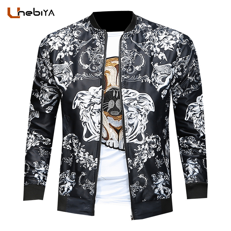 Unebiya Men Spring New Religion Element Printing European Style Jacket Slim Vintage Printed mens bomber jackets coats USA yt0281 italy 2009 european conference on religion european map 1ms new 0521
