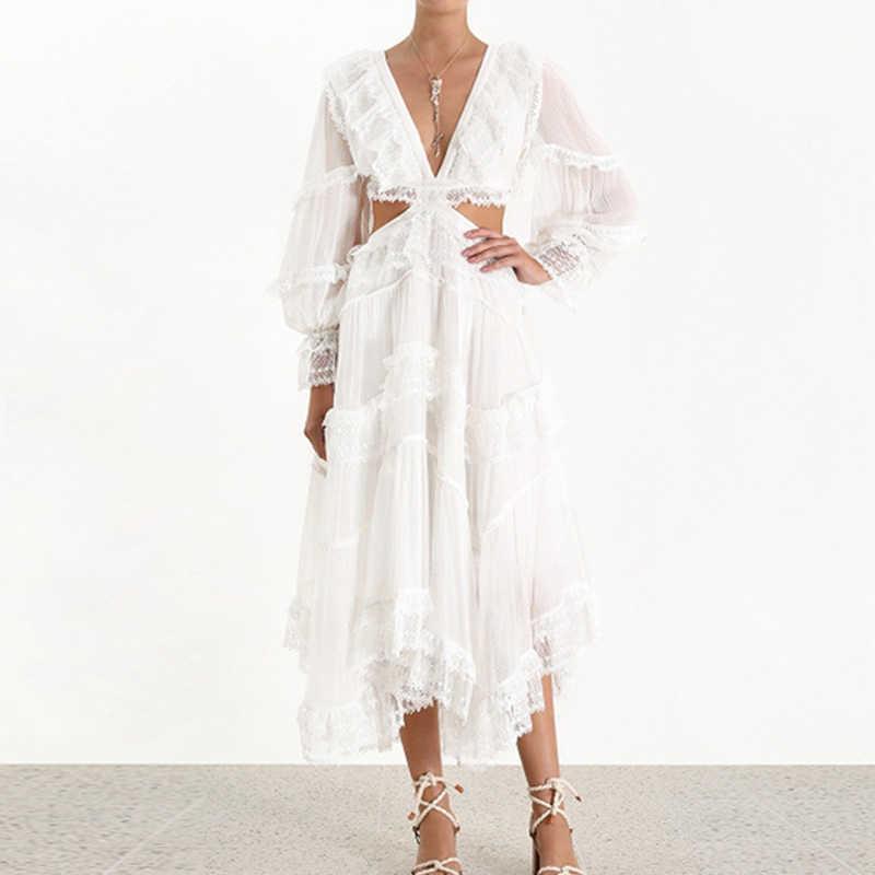 Новое поступление 2019, сексуальное женское платье с v-образным вырезом и длинным рукавом, открытая спина, открытая талия, кружевные оборки, белое платье, Пляжное вечернее платье, vestidos