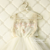 3318 Golden Flower Lace Princess Party Toddler A Line Kids Dresses For Girls 2018 Summer White
