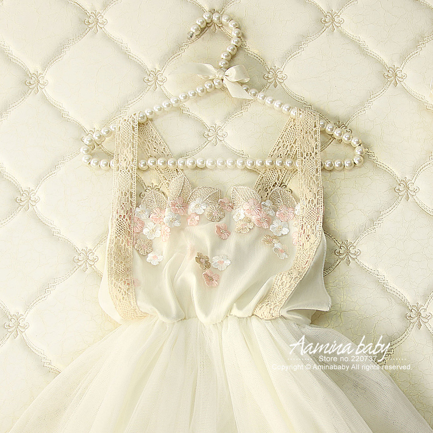 3318 Golden Flower Lace Princess Party Toddler A-line Kids Dresses For Girls,2018 Summer White Beige Cotton Tutu Baby Girl Dress summer dresses for girls party dress 100% cotton summer cool and refreshing the harness green flowered dress 1 5years old