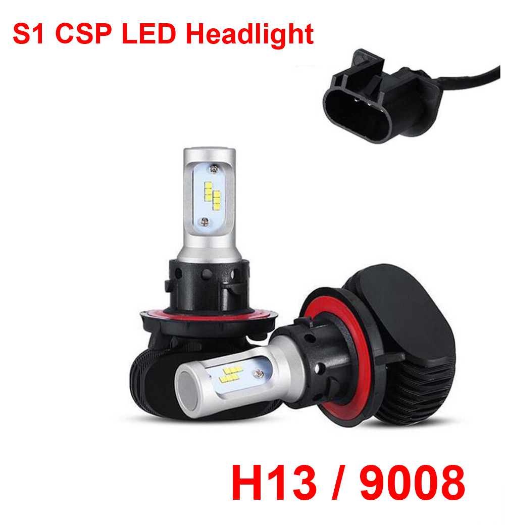 1 Set H13 9008 S1 50W 8000LM LED Headlight Slim Conversion Kit High/Low Beam Seoul CSP Y19 Chips Fanless All-in-one White 6000K