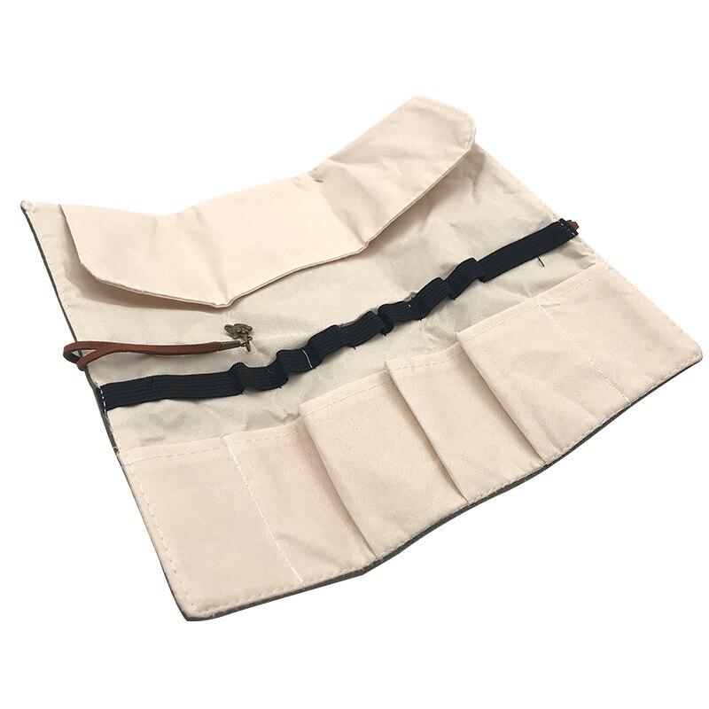Lona Wrap Roll Up Pluma Estuche de lápices Maquillaje Pincel Retro - Maquillaje - foto 6