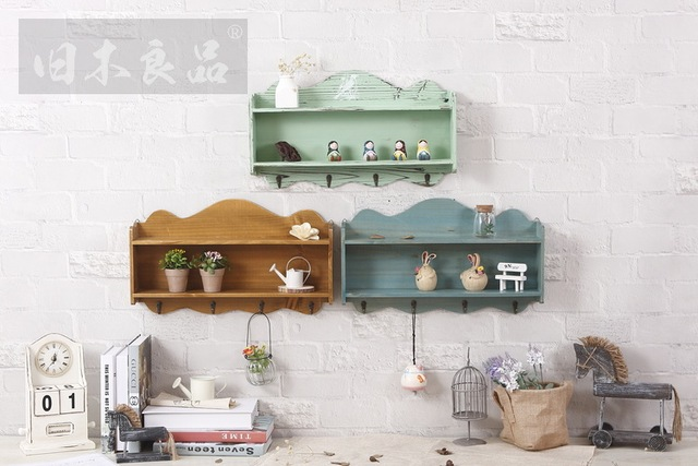 New Creative Home Decoration Decorative Wooden Wall Hanging Cabinet Crafts  Retro Storage Rack Furniture, Household