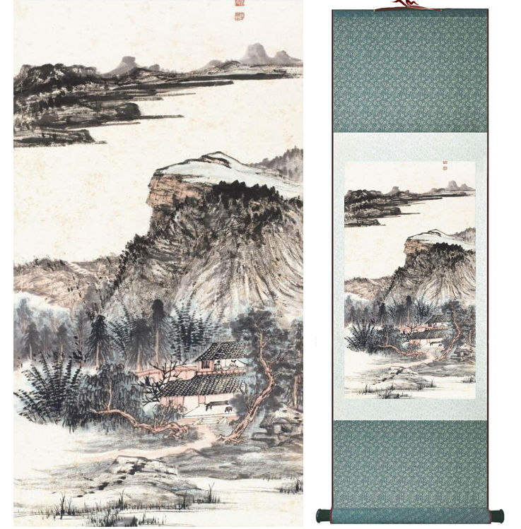 Zhangdaqian Mountain and River painting Chinese scroll painting landscape art painting home decoration painting 0402024