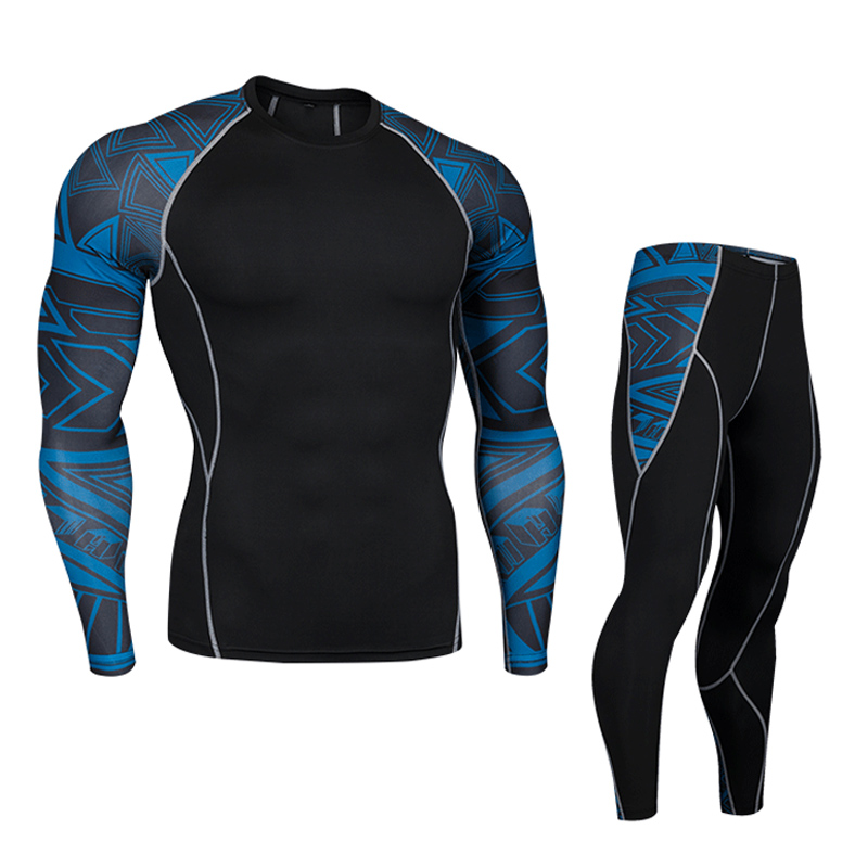 Men's Sports Suit Fitness Exercise Quick-drying Clothes Sweatsuit Men Training Shirt Running Pants Compressed MMA Kit S-4xl
