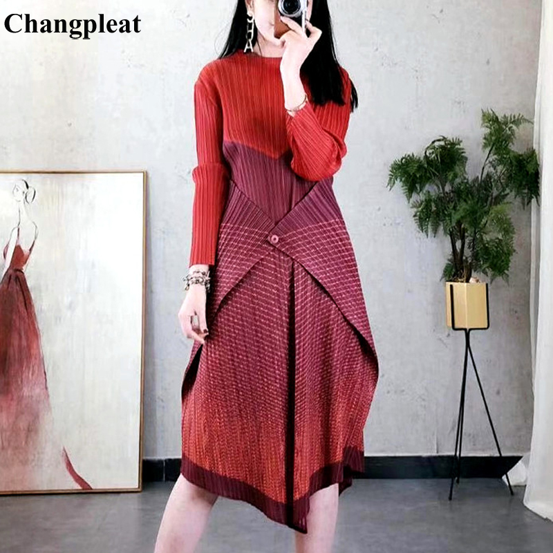 Changpleat 2019 Spring New Stripe Splicing Women Dresses Miyak Pleated Fashion Design One Button Elastic Waist Female Dress Tide
