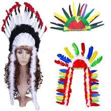 Для взрослых, детей, мужчин, перо, индийский главный головной убор, дикарь, головной убор, военный головной убор, шляпа самбы, Карнавальная шапка