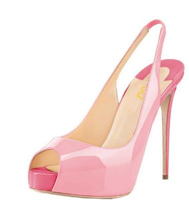 Open Toe Ankle StrapWomens Pink Stiletto Heels Peep Toe Patent Leather Cute Shoes Slingback Pumps with PlatformOpen Toe Ankle StrapWomens Pink Stiletto Heels Peep Toe Patent Leather Cute Shoes Slingback Pumps with Platform