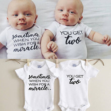 Newborn Twins Clothing Baby Boys Girls Clothes Whiter Letter Printed Bodysuit Short Sleeve Playsuit Matching One Piece Outfits(China)