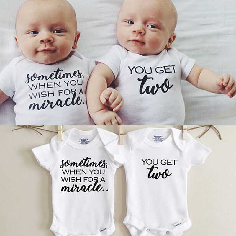 85740a336b28a Newborn Twins Clothing Baby Boys Girls Clothes Whiter Letter Printed  Bodysuit Short Sleeve Playsuit Matching One Piece Outfits