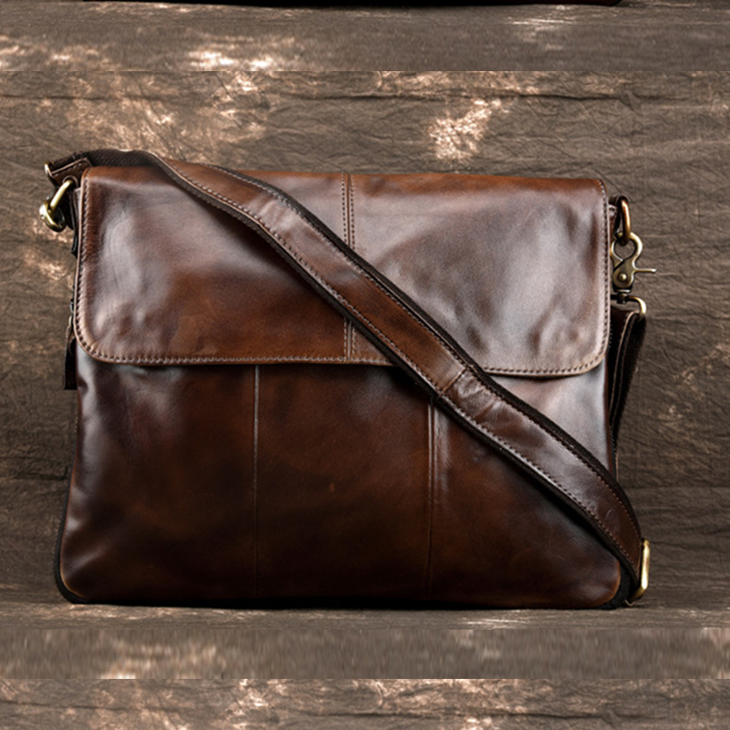 Genuine Leather Men Shoulder Briefcase Bags First layer Cowhide Luxury Messenger Bag Male Travel Cross Body Pack Business Bag
