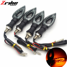 for honda 2Pcs/1 lot Motorcycle LED Turn Signal Light High quality 12 Led Indicator Dual Color Blue&Amber Blinker
