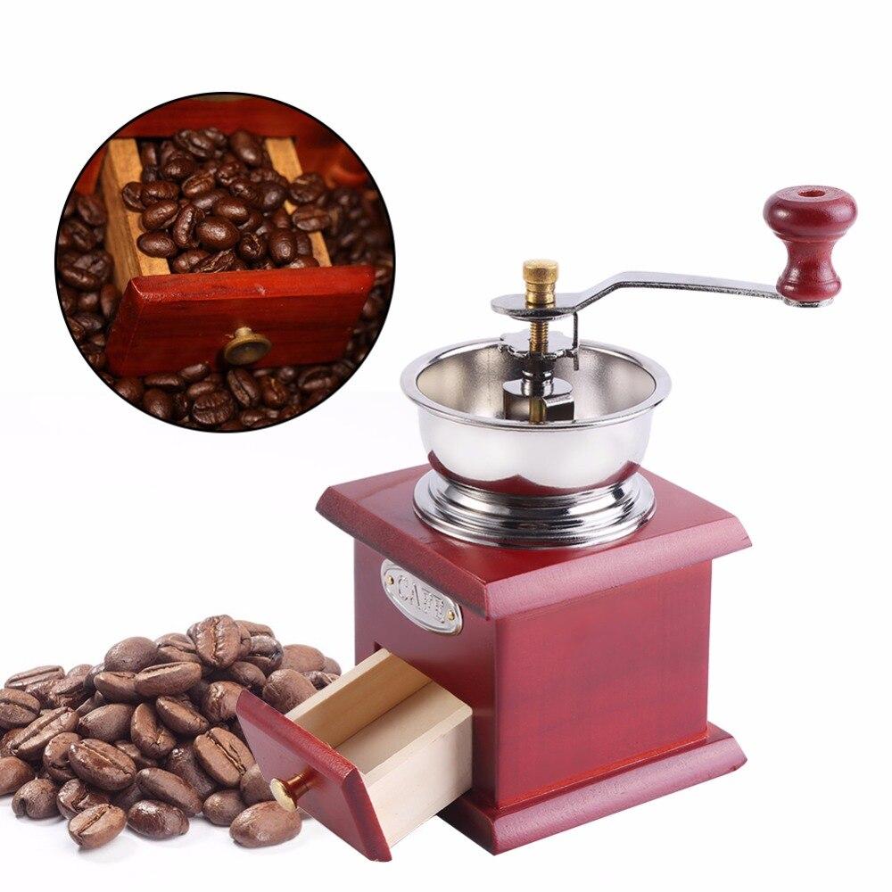 Винтажная ручная кофемолка с керамическим механизмом, Ретро деревянная кофейная мельница для украшения дома, кофемолка, шлифовальные инструменты