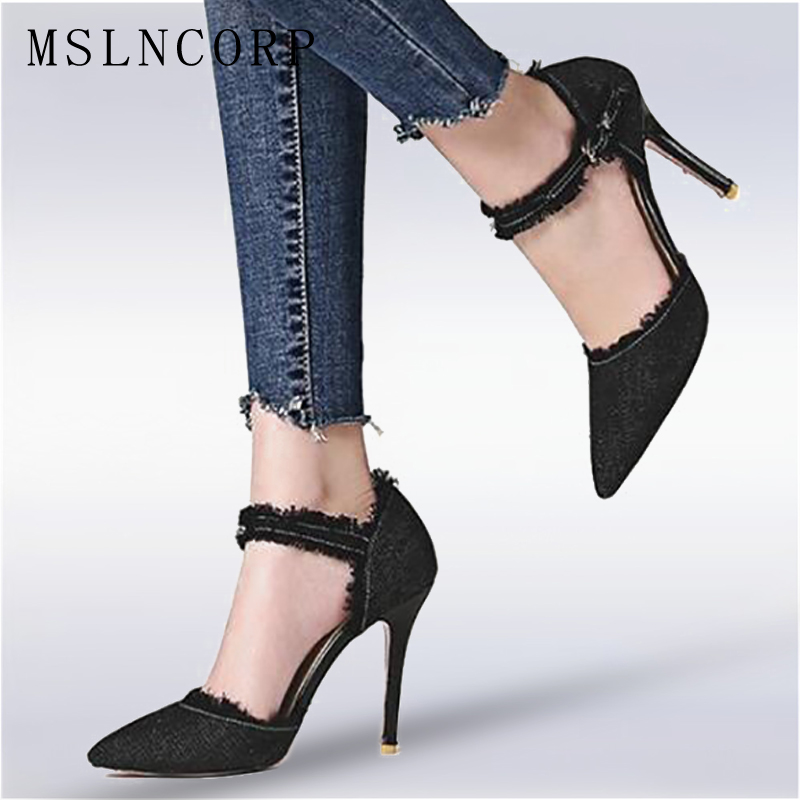 Plus Size 34-47 Spring Summer High Heels Denim Sandals Dress Pointed Toe Ankle Buckle strap lady Pumps sexy Women Party shoes new arrival 2017 summer pointed toe shoes high heels ankle buckle stiletto sandals elegant simplicity dress heel shoes pumps