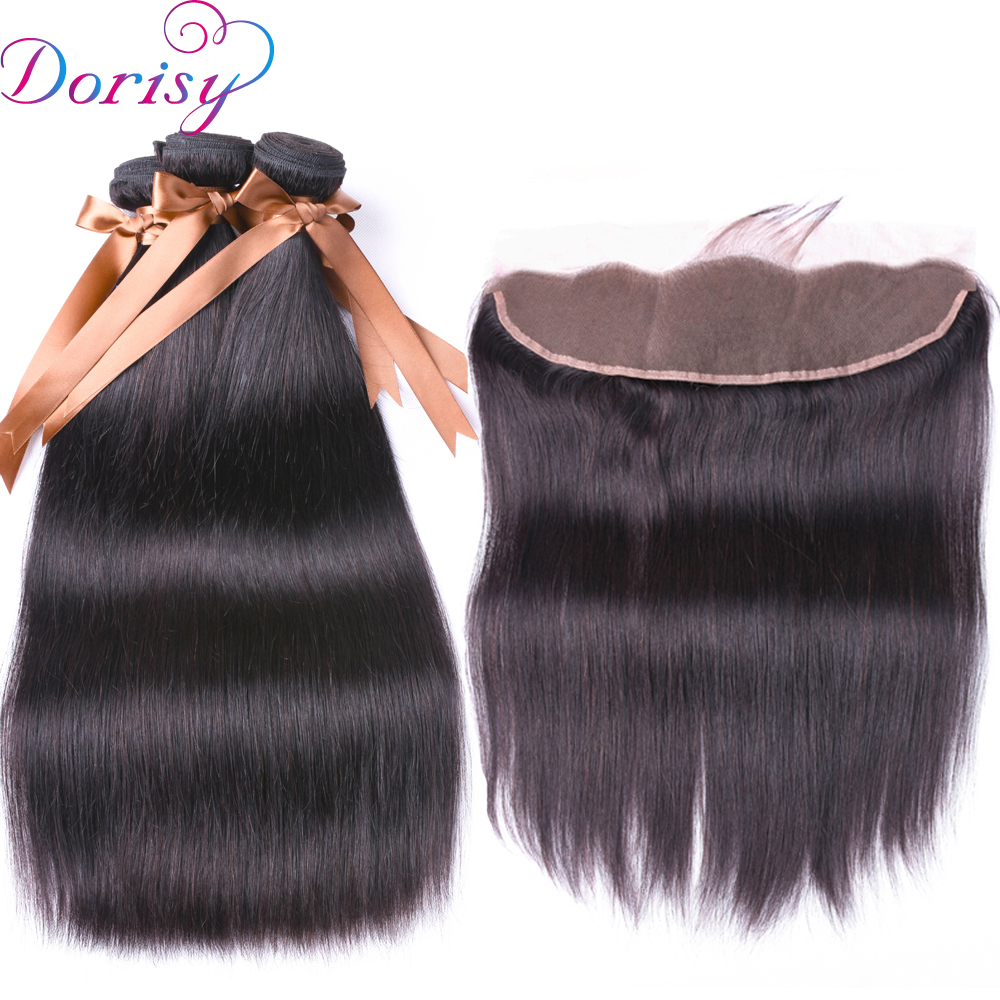Brazilian Straight Hair Weave Bundles Lace Frontal Closure With Bundles Non Remy Human Hair 3 Bundles With Frontal Lace Closure