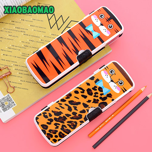 Cute Cartoon Animal Pencil Case Pencil Box Student Pen Bag Double-layer high-capacity pencil case School Supply  Escolar big capacity high quality canvas shark double layers pen pencil holder makeup case bag for school student with combination coded lock