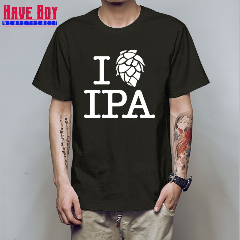 HAVE BOY Summer I Love IPA T Shirt Men Casual Cotton Short Sleeve Funny Beer Mans Pale Ale T-shirt IPA Tshirt HB444 image