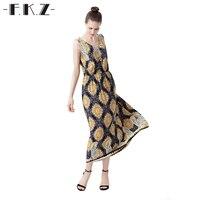 FKZ Elegant Dress Summer Sundress Geometic Pattern Women Vogue Vintage Sleeveless Long Dress Women Clothing Dress SKQYL0200