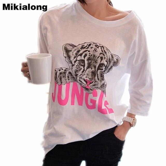 12358dd1c4e Mikialong White T Shirt Women 2017 Summer Tops Leopard Graphic Tee Shirt  Femme Plus Size 5XL Short Sleeve Kawaii T-shirts