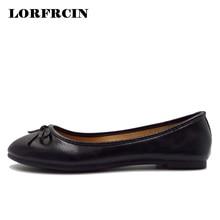 LORFRCIN Flat Shoes Women 2017 Shallow Mouth Bowtie Ballerina Flats Wedding  Shoes Flat Heel Ladies Casual 26f8e2b54e0a