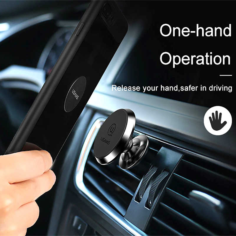 USAMS רכב מגנטי מחזיק 360 מסתובב מחזיק טלפון אוניברסלי רכב מגנט Stand מחזיק עבור iphone 5 6 7 סמסונג