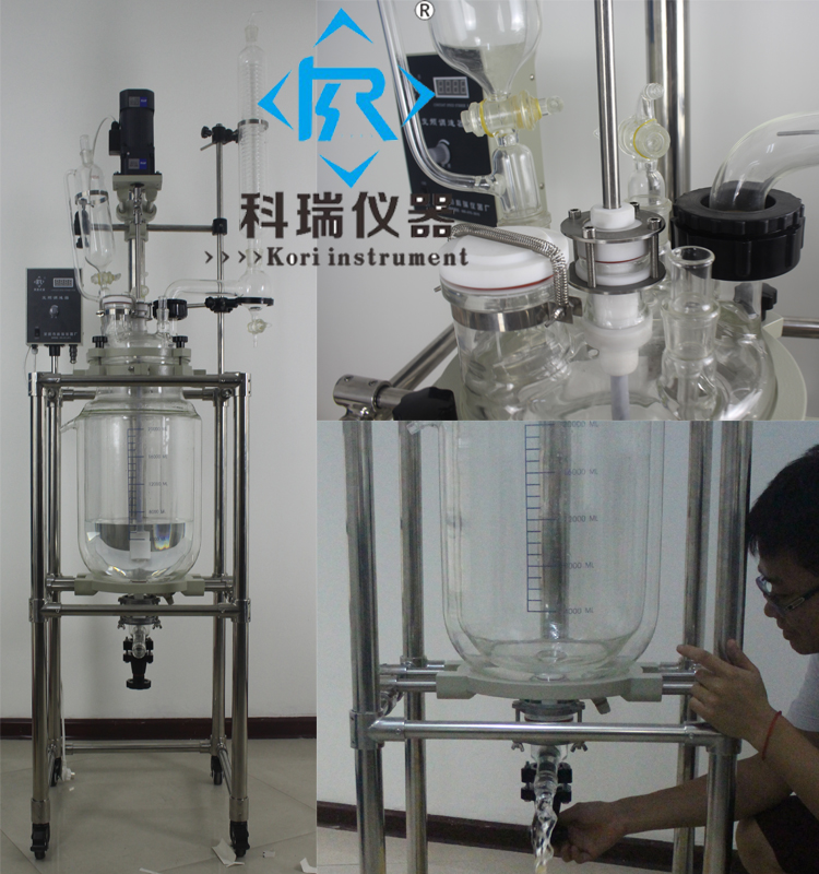 SF-20L Glass Jacketed Reactor with Mixing Reaction vessel with Condenser coiling For Lab&Chemistry& Pilot plants System 10l batch glass reactor glass lined jacketed reactor vessel for chemicaland pharmaceuticals industry with condenser with ptfe