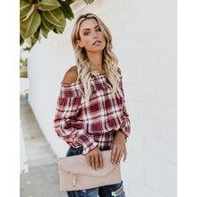 цена на Blouse Woman Fashion Long Sleeve Slash Neck Petal Sleeve Plaid Short Autumn Tops Streetwear Vintage Off Shoulder Shirt blusa H30