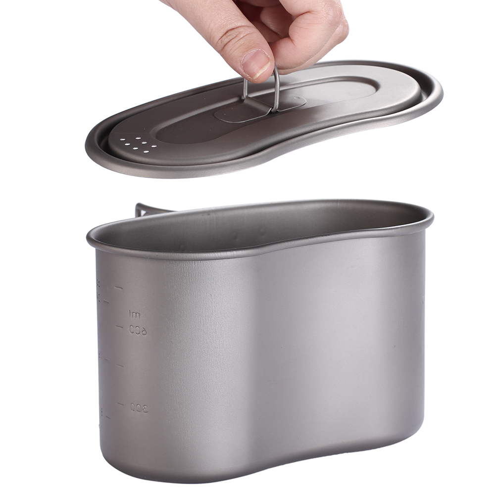 TOAKS 950 ml titane tasse titane militaire boîte à Lunch titane cantine tasse avec couvercle Camping titane militaire Pot