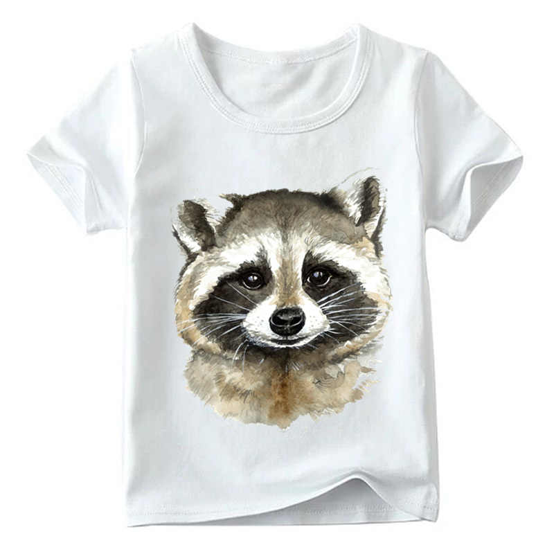 5cb416cc1 Detail Feedback Questions about Boys/Girls Watercolor Raccoon Print Funny T  shirt Kids Summer Short Sleeve Tops Children Soft White T shirt,HKP5058 on  ...