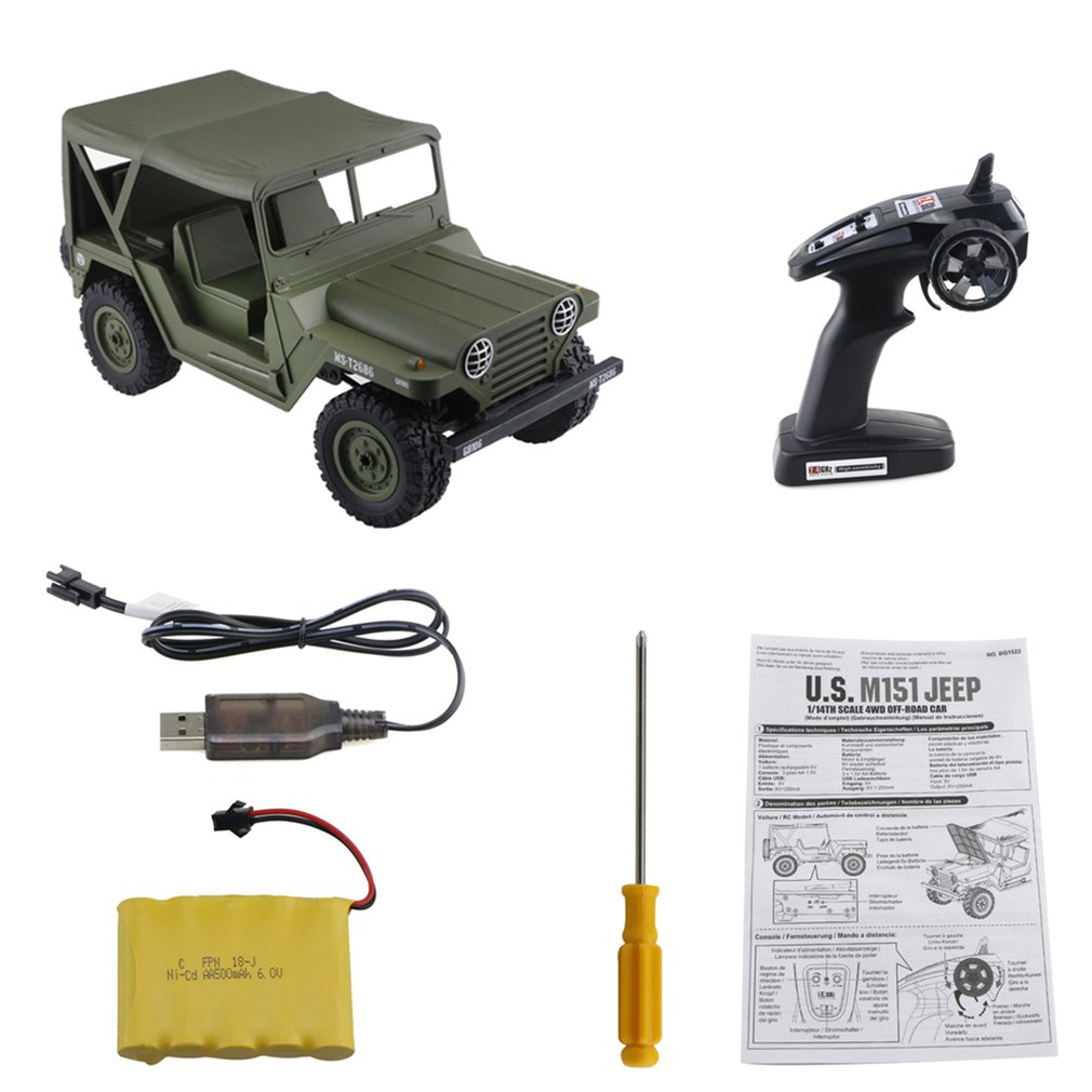 SUBOTECH BG1522 1/14 2.4G 4WD Crawler Off-road RC Climbing Car Buggy Toys High Speed Vehicle with Headlight RTR Model RC Car Toy willys jeep 1 10