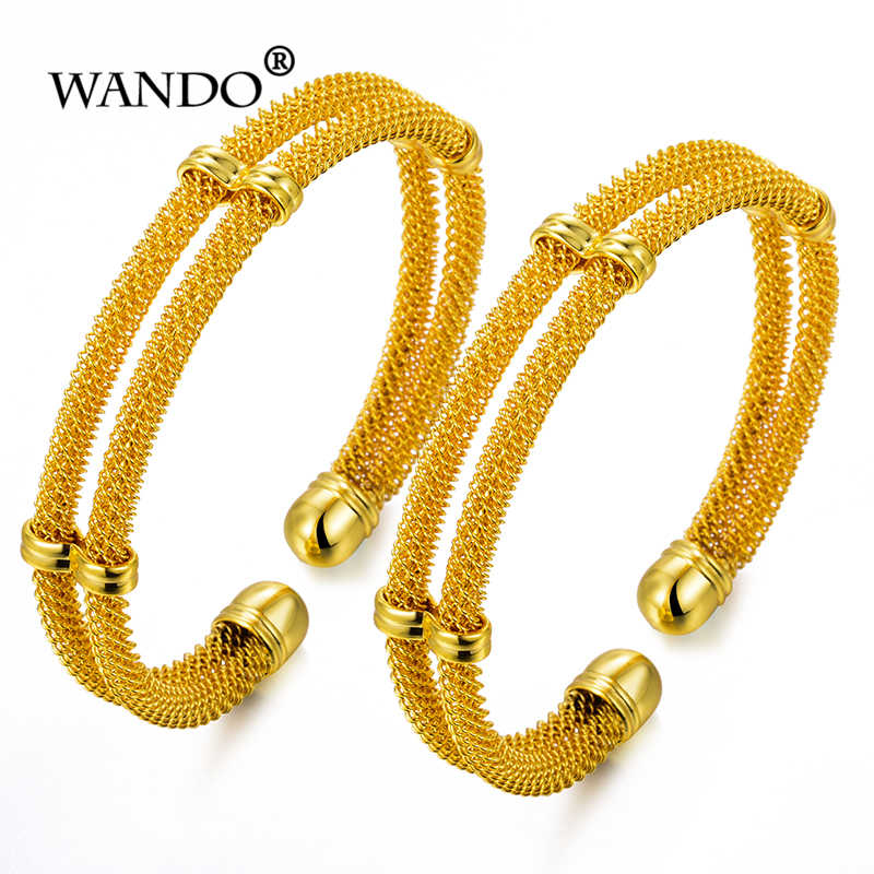 WANDO 2pcs can open Wire Bracelets Bangles Gold colour Plated Women's Fashion Bracelet Dubai African Men Women Jewelry gift w113