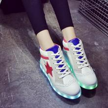 Euro size 35-40 Children USB chargable shoes Boys Girls Glowing Light Up shoes Casual Kids LED Luminous sneakers girls shoes
