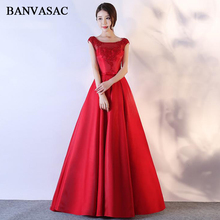 BANVASAC 2018 Sequined O Neck Lace Appliques A Line Long Evening Dresses Party Satin Bow Sash Open Back Prom Gowns