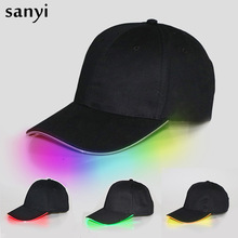 Lampa błyskowa led reflektor czapka z daszkiem moda z podświetleniem led Glow Club Party czarna tkanina kapelusz podróżny czapka z daszkiem reflektor